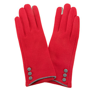 Fleurish Home Button Gloves Red & Grey