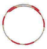 Fleurish Home Wire Choker Necklace Red & Grey