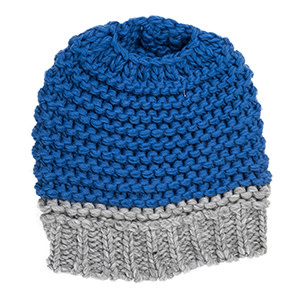 Fleurish Home Knitted Bun Hat Royal Blue
