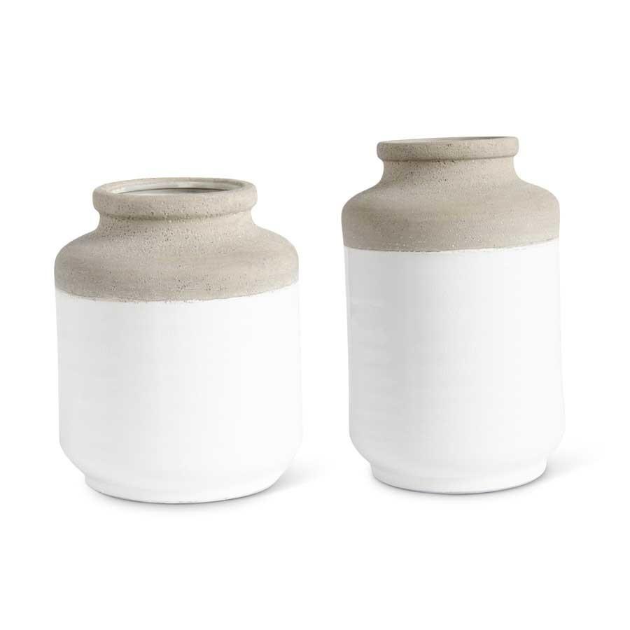 Fleurish Home *last chance* Jar Shaped Ceramic Vase w White