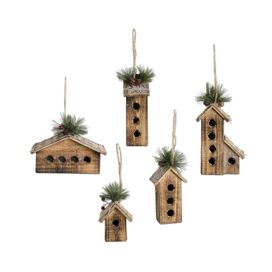 Fleurish Home Wooden House Ornaments SET (need to divide before selling)