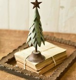 Fleurish Home Med Green Metal Ever-Pine Tree w Star 10""