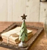Fleurish Home Sm Green Metal Ever-Pine Tree w Star 7.5""