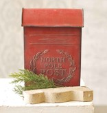 Fleurish Home Red Metal North Pole Post Box 14""