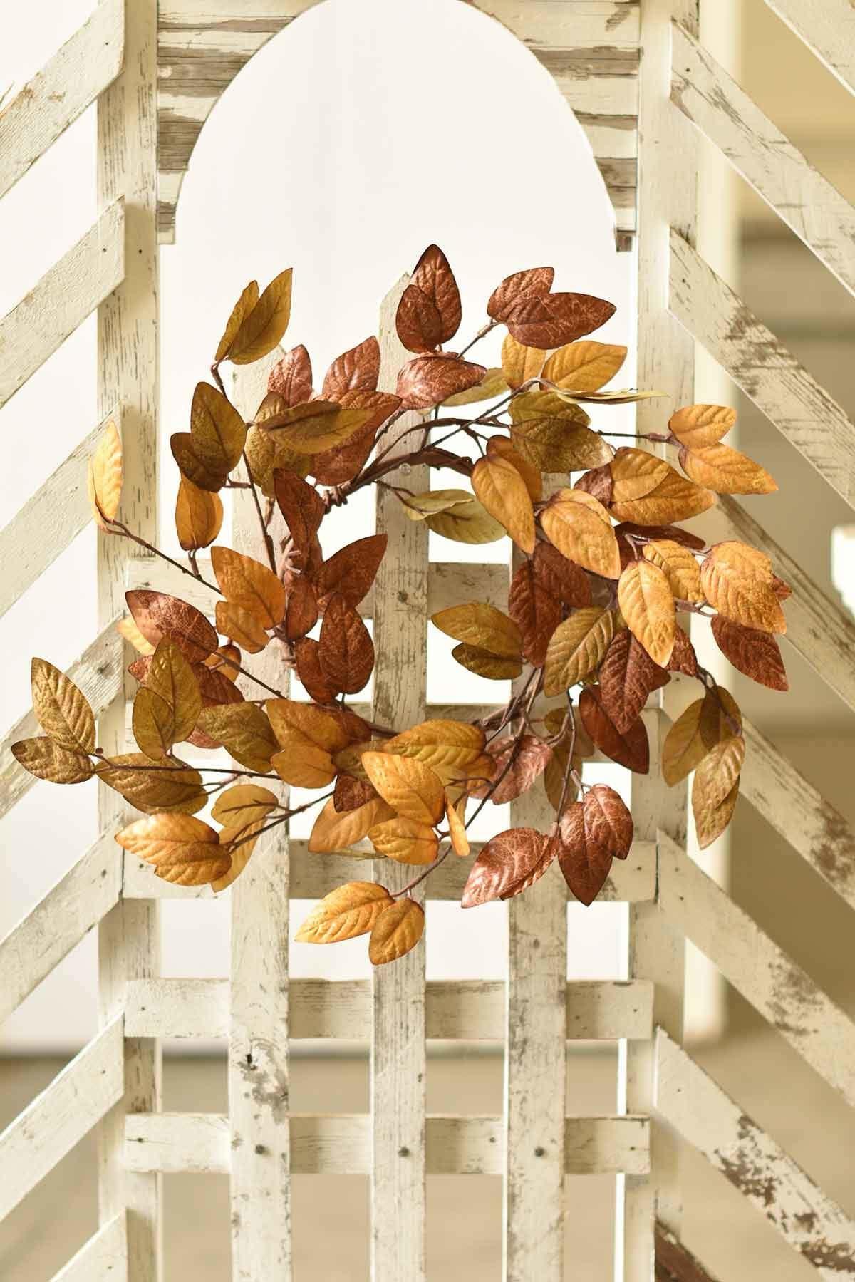 "Fleurish Home Small Perfect Fall Leaves Wreath 15"""