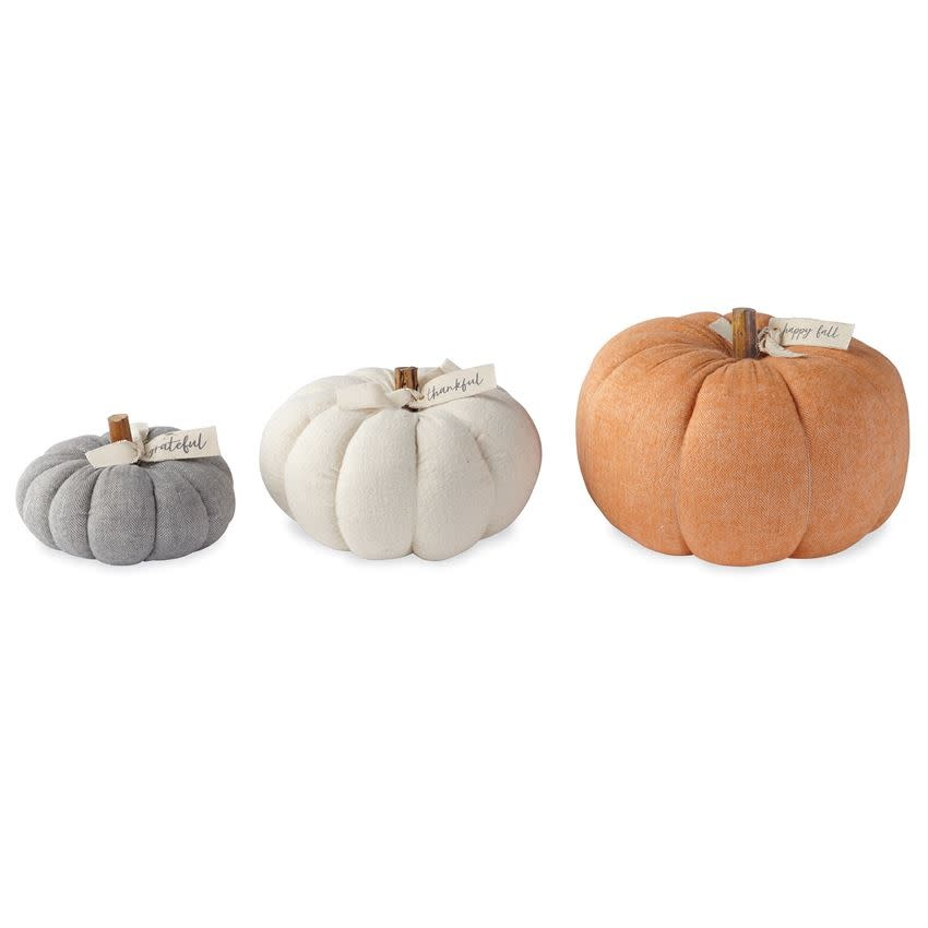 Mudpie SMALL GREY COTTON PUMPKIN