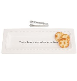 Mudpie Circa Cracker Dish & Tong Set