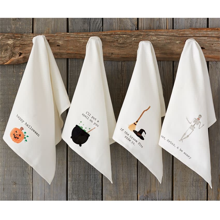 Mudpie BROOM AND HAT ICON HAND TOWELS