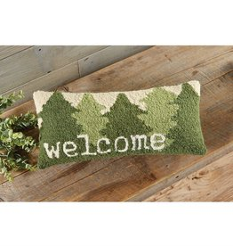 Mudpie Welcome Tree Hooked Wool Pillow