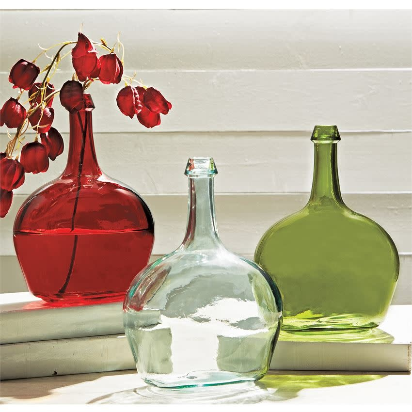 Mudpie RED TALL NECK GLASS VASE