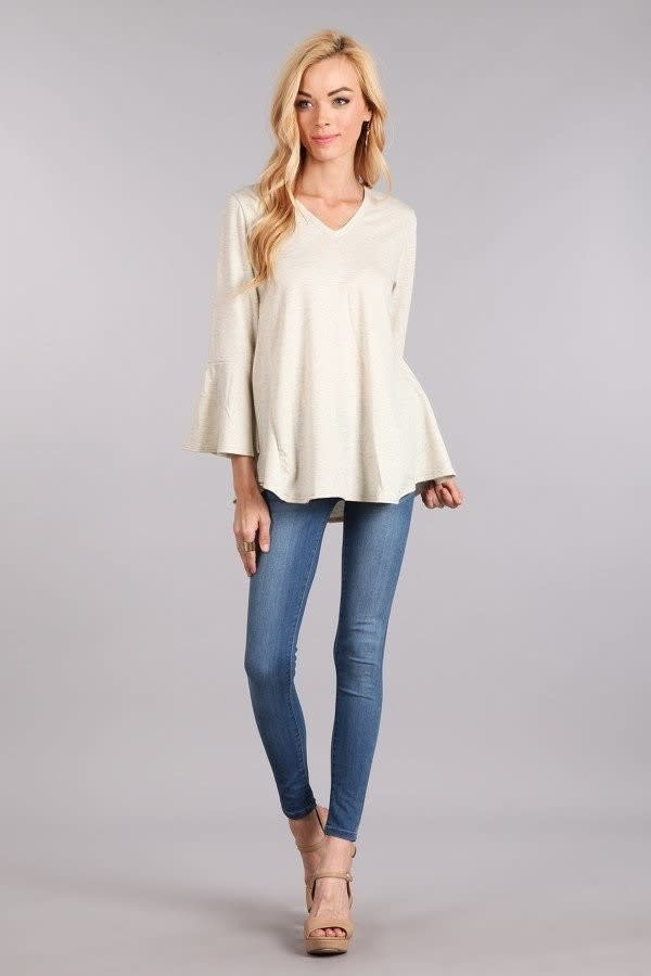 Fleurish Home Bell Sleeve V-Neck Knit Top