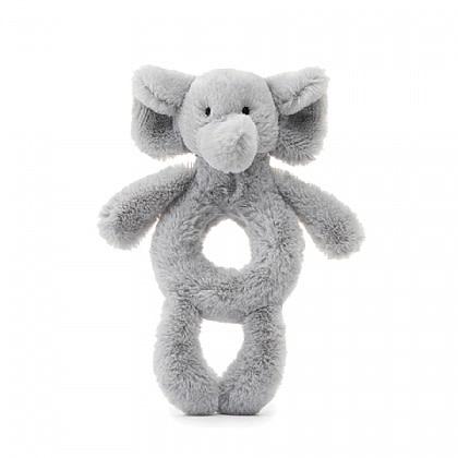 Jellycat Bashful Grey Elephant Ring Rattle