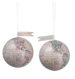 "Fleurish Home ""Peace on Earth"" Globe w Glitter Ornament  (Choice of 2 Colors)"