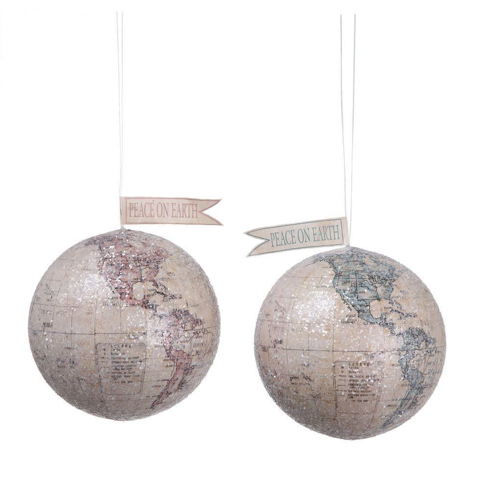 Fleurish Home Glittered Globe Ornament (choice of 2 styles)