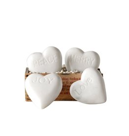 Fleurish Home White Marble Heart w Saying (Choice of 4 Words)