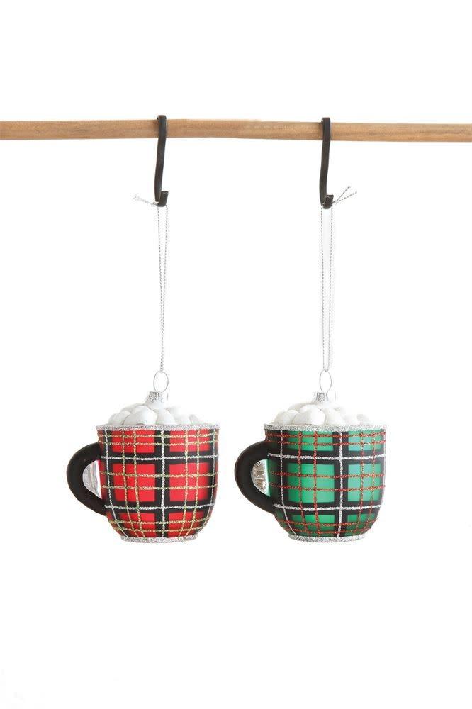 Fleurish Home Plaid Hot Cocoa Mug Glass Ornament (choice of 2 colors)