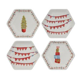 Fleurish Home Whimsical Christmas Hexagon Dish (Choice of 4 Styles)