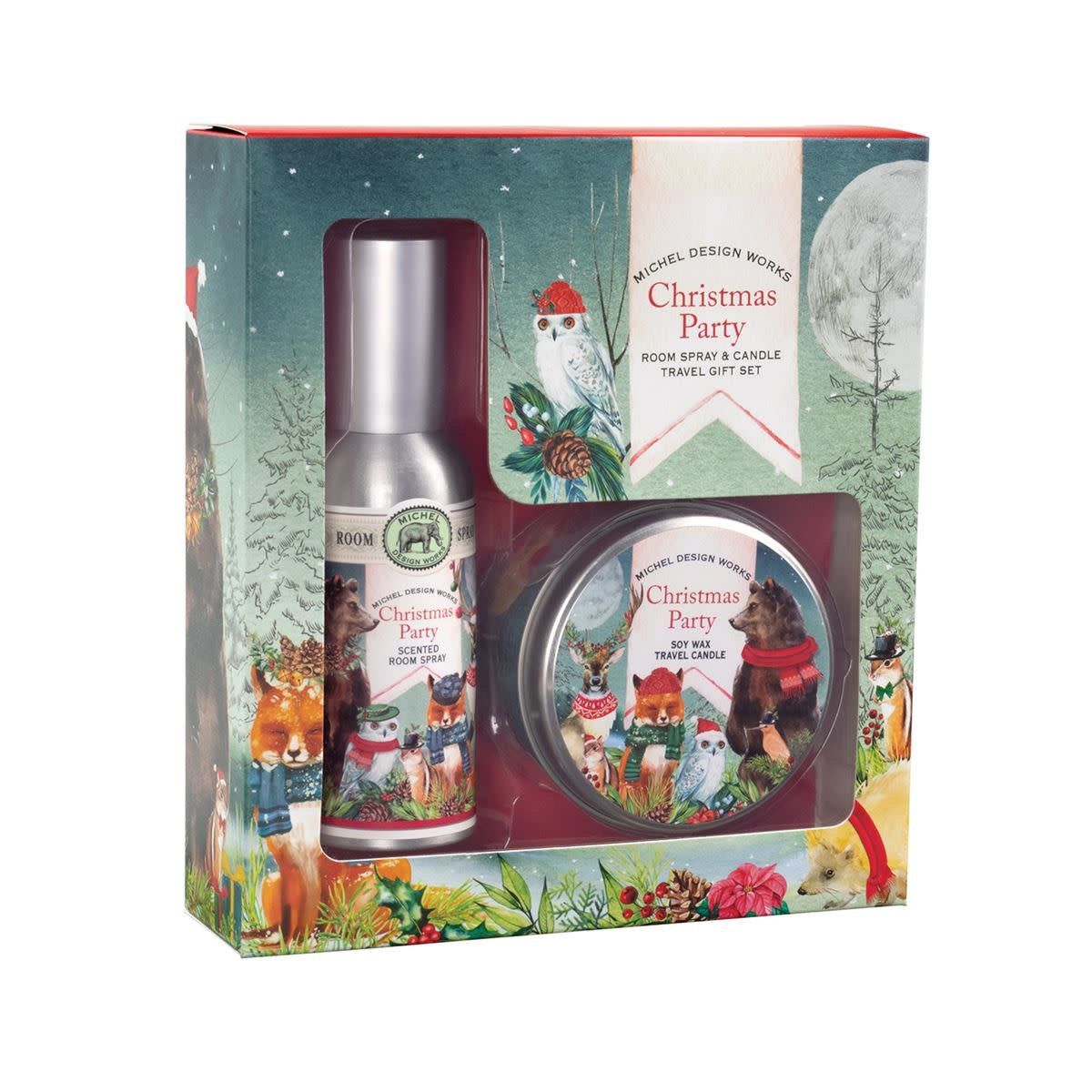 Michel Design Works Christmas Party Room Spray and Candle Travel Gift Set