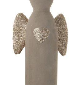 Fleurish Home Cement Standing Angel w Glittered Wings & Heart