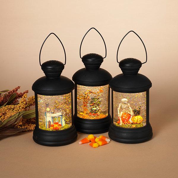 Fleurish Home Lighted Spinning Water Globe Halloween Lantern w/Timer (choice of 3 styles)3 Asst
