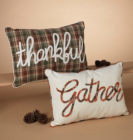 "Fleurish Home Fall Pillow w Saying: ""Thankful"" or ""Gather"""