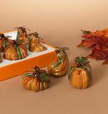 Fleurish Home Sm Ceramic Pumpkin w/ Metal Leaves (choice of 3 styles) orange