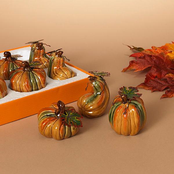Fleurish Home Sm Ceramic Pumpkin w/ Metal Leaves (choice of 3 styles)