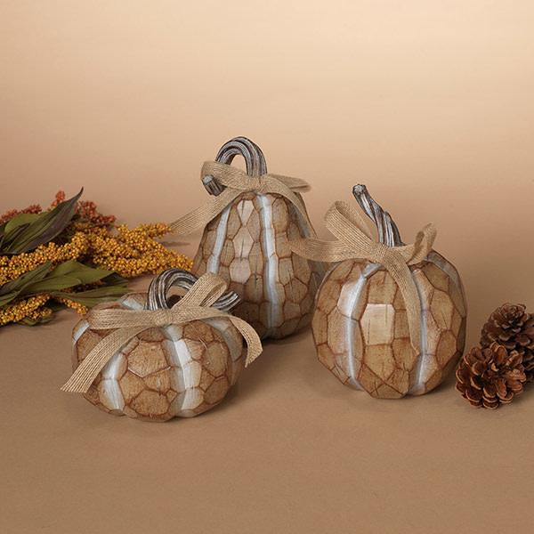 Fleurish Home Sm Neutral Woodtone Pumpkin (choice of 3 styles)