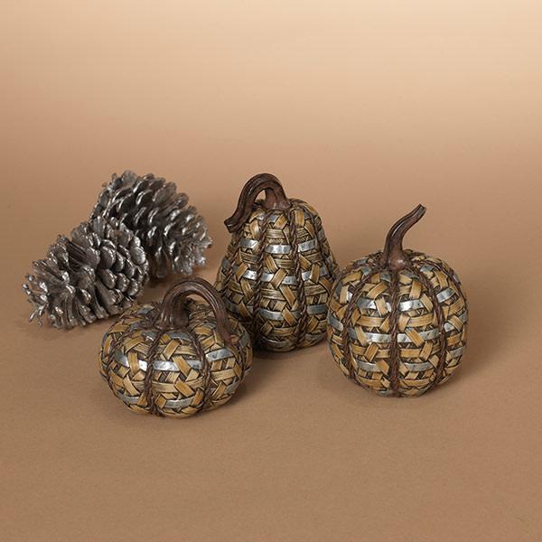 Sm Rattan Textured Pumpkin (choice of 3 styles)