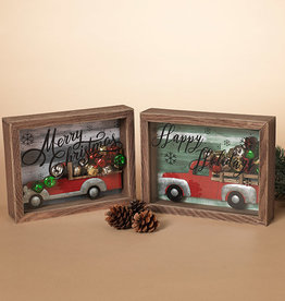 Fleurish Home Holiday Shadowbox w/ Truck and Jingle Bells (choice of 2 styles)