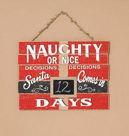 Fleurish Home Naughty or Nice Christmas Countdown Hanging Sign