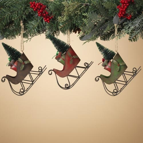 Fleurish Home Iron Sleigh w/ Tree Ornament (choice of 3 styles)