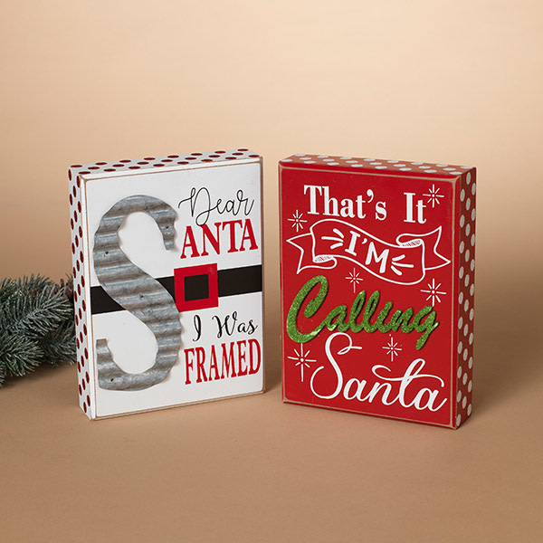 Fleurish Home Santa Tabletop Sign (choice of 2 styles)