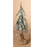 "Fleurish Home Lg Snowy Holiday Alpine Tree with Burlap Base 18""H"