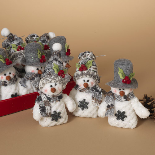"Fleurish Home Sm Plush Holiday Snowman 5"" (choice of 3 styles)"