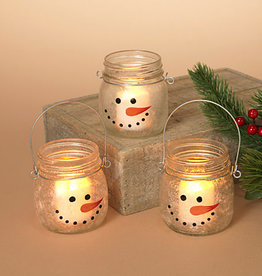Fleurish Home Frosted Glass Snowman Candle Holder (choice of 3 styles)