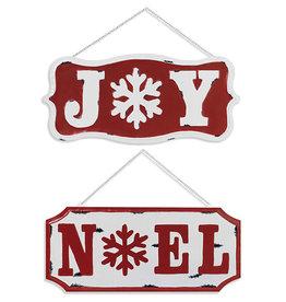 "Fleurish Home Metal Holiday "" Noel"" -OR- ""Joy"" Hanging Sign 17.7""L"