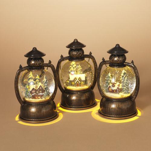 Fleurish Home Lighted Spinning Water Globe Lantern w/ Winter Scene (choice of 3 styles)