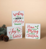 Fleurish Home Sm White Holiday Sign (choice of 3 styles)