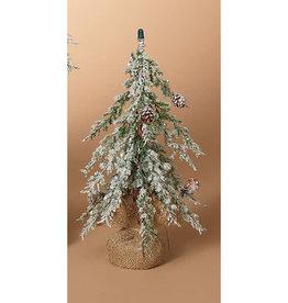 "Fleurish Home Sm Snowy Holiday Alpine Tree with Burlap Base 12""H"