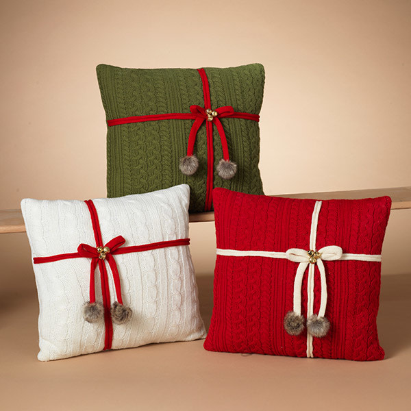 Fleurish Home Sweater Knit Pillow w/ Bow (choice of 3 styles)
