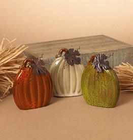 Fleurish Home Sm Flat Ceramic Pumpkin w/ Metal Leaf (choice of 3 colors)