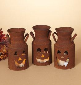 Fleurish Home Sm Rusty Metal Jack-O-Lantern Milk Can (choice of 3 styles)