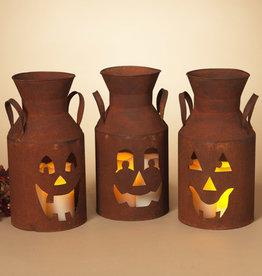 Fleurish Home Lg Rusty Metal Jack-O-Lantern Milk Can (choice of 3 styles)