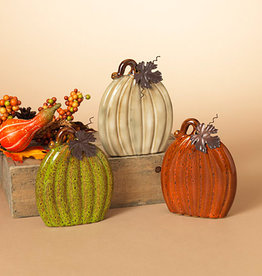 Fleurish Home Lg Flat Ceramic Pumpkin w/ Metal Leaf (choice of 3 colors)