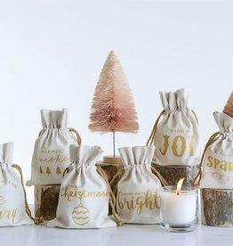 Fleurish Home Snow Flower 7 oz Candle w Cotton Gift Bag