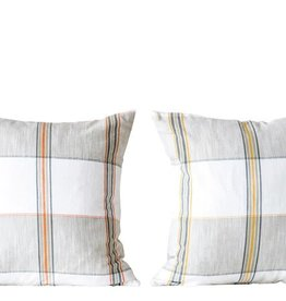 "Fleurish Home Cotton Woven Plaid Pillow (18"" Sq)"