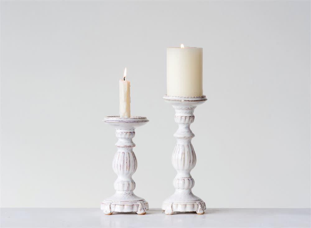"Fleurish Home Lg White Ceramic Glazed Candlestick Holder (9.75"")"