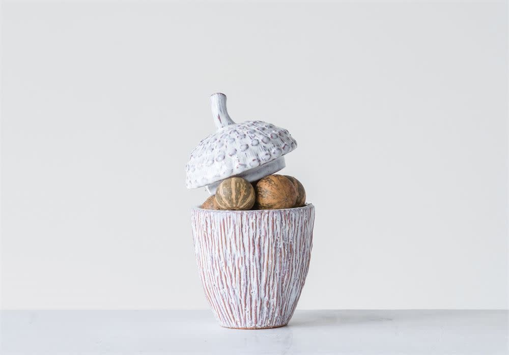 Fleurish Home White Ceramic Glazed Lidded Acorn Container