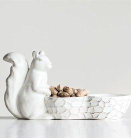 Fleurish Home White Ceramic Glazed Squirrel w Nut Shaped Bowl